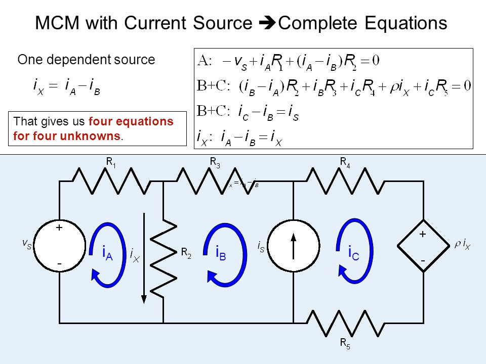 MCM with Current Source Complete Equations