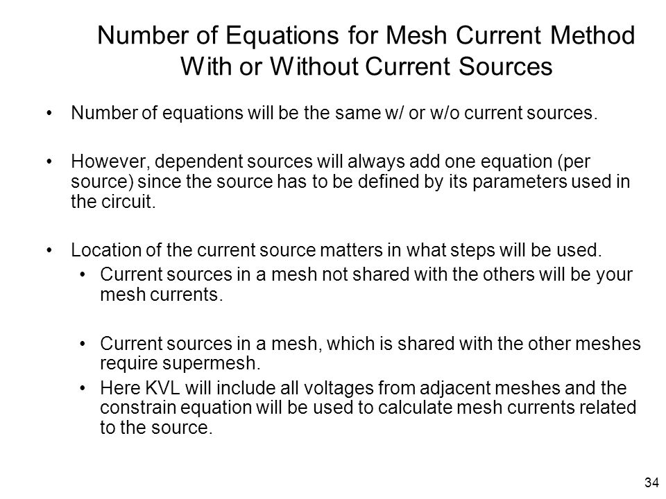 Number of Equations for Mesh Current Method With or Without Current Sources