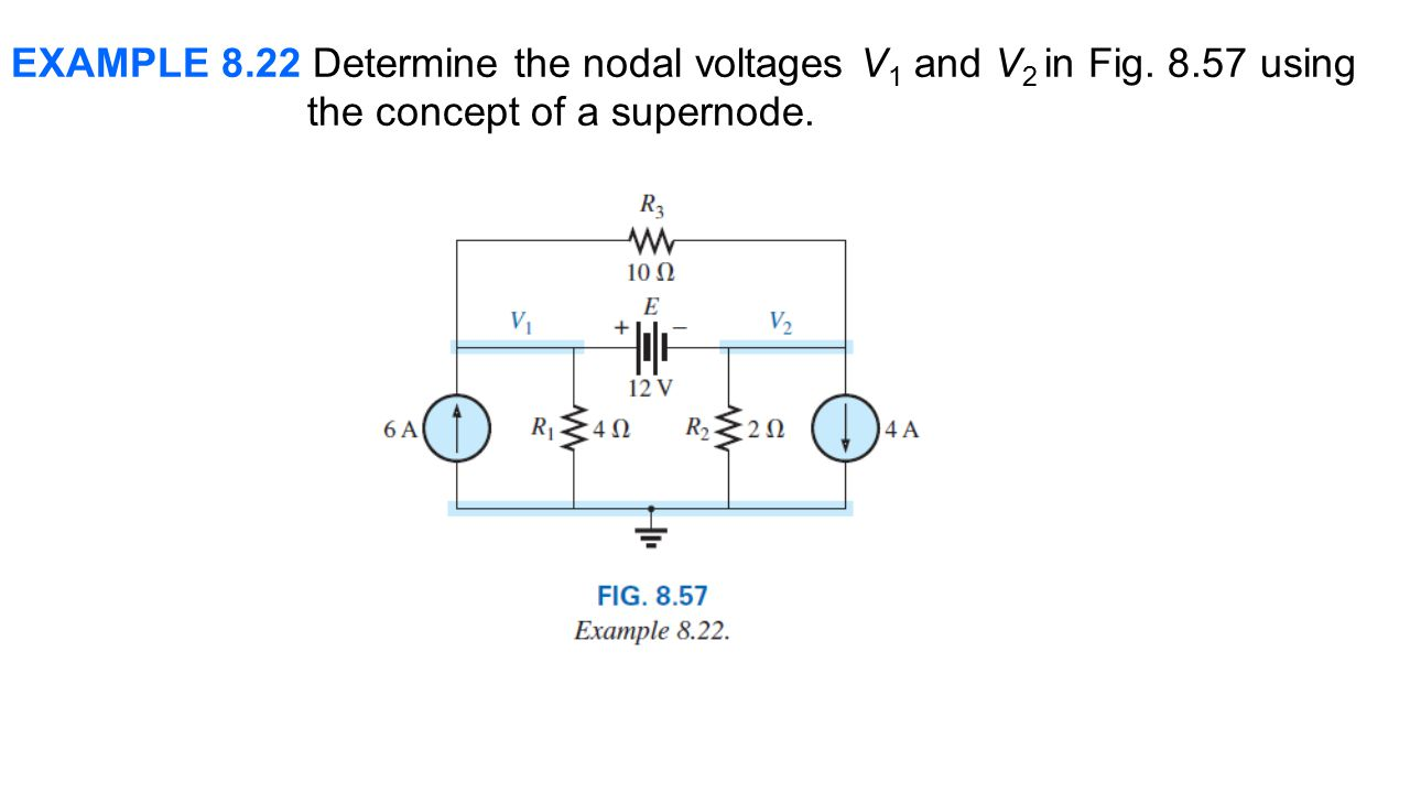 EXAMPLE 8.22 Determine the nodal voltages V1 and V2 in Fig. 8.57 using