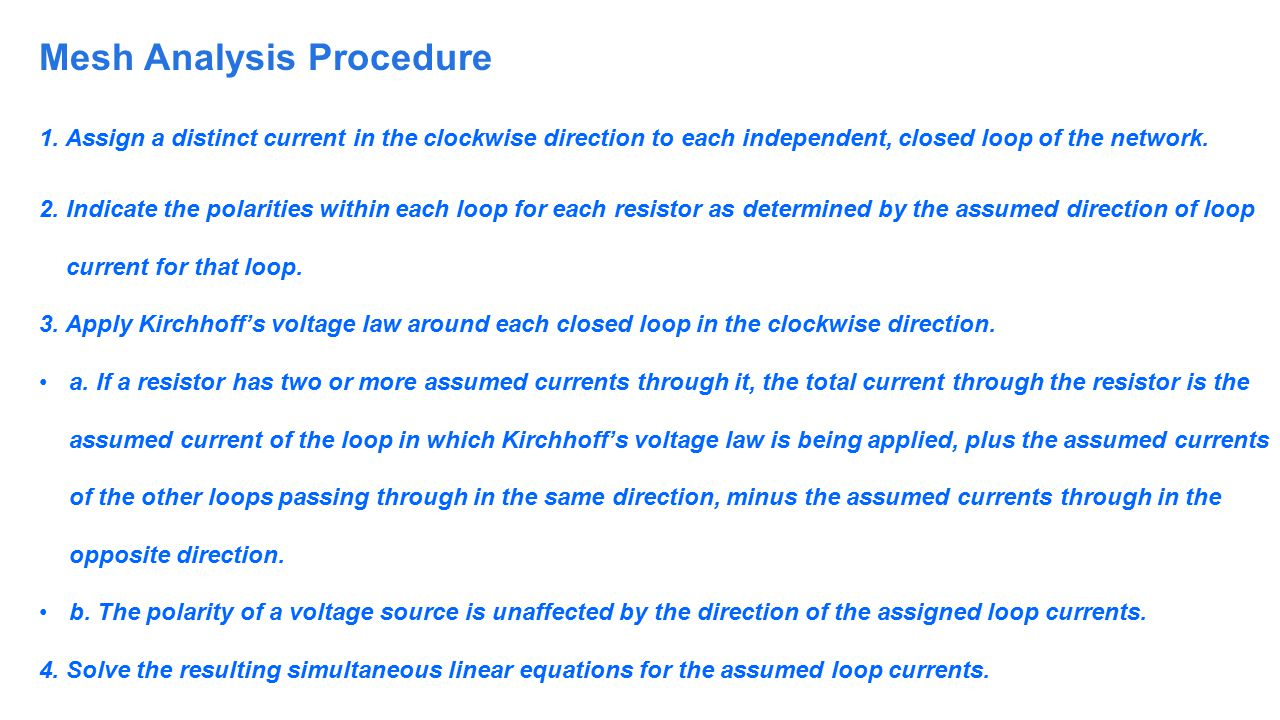 Mesh Analysis Procedure
