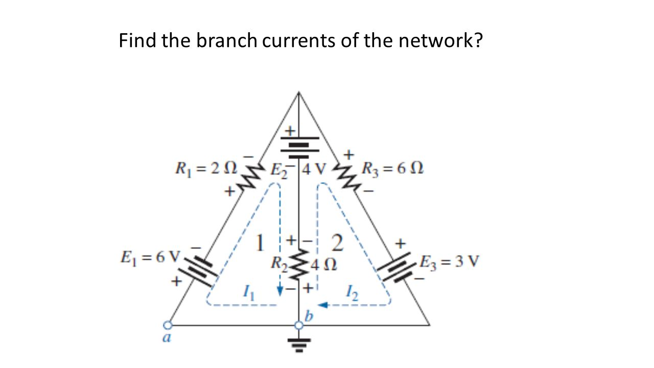 Find the branch currents of the network