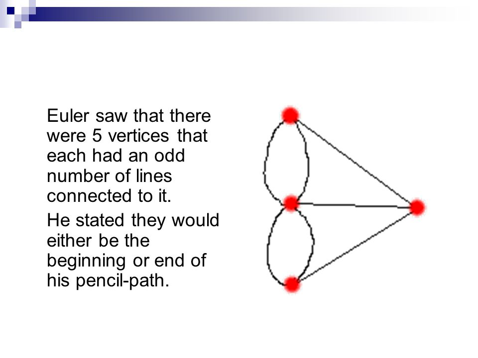 Euler saw that there were 5 vertices that each had an odd number of lines connected to it.