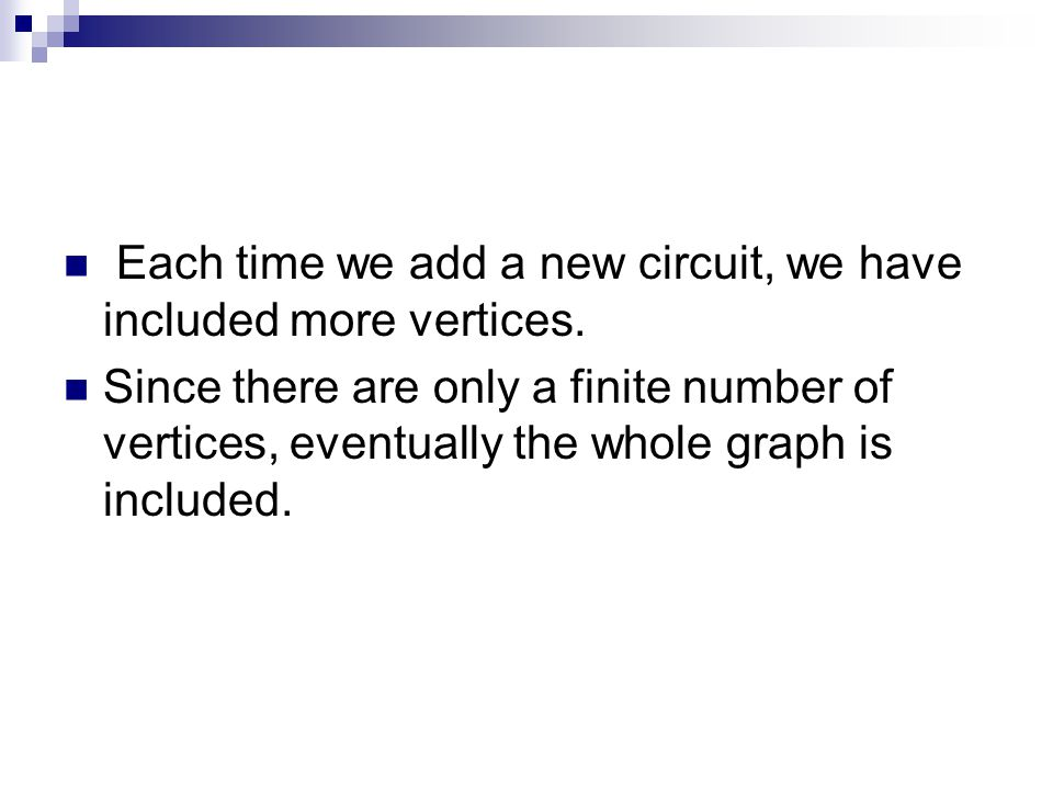 Each time we add a new circuit, we have included more vertices.