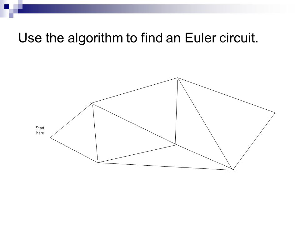 Use the algorithm to find an Euler circuit.