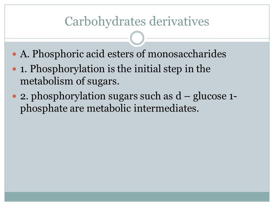 Carbohydrates derivatives