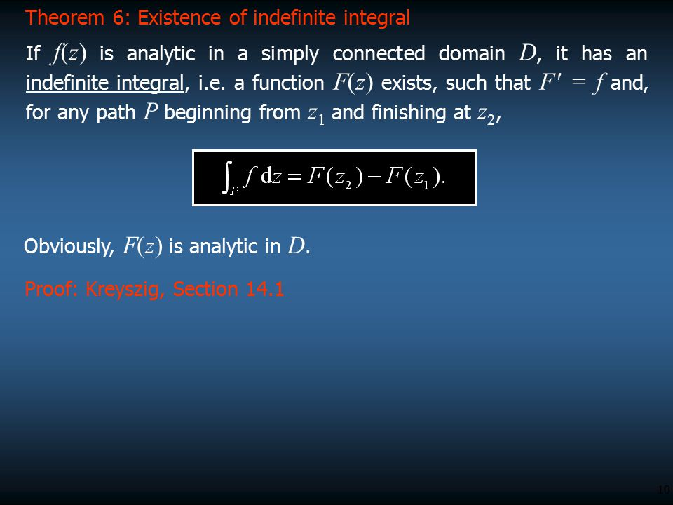 Theorem 6: Existence of indefinite integral