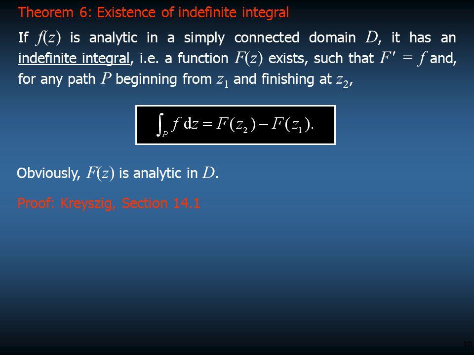 Theorem 6: Existence of indefinite integral
