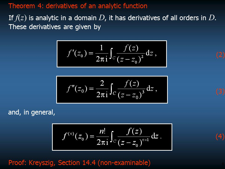 Theorem 4: derivatives of an analytic function