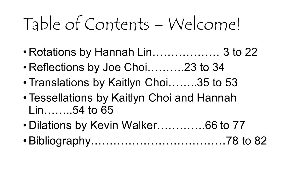 Table of Contents – Welcome!