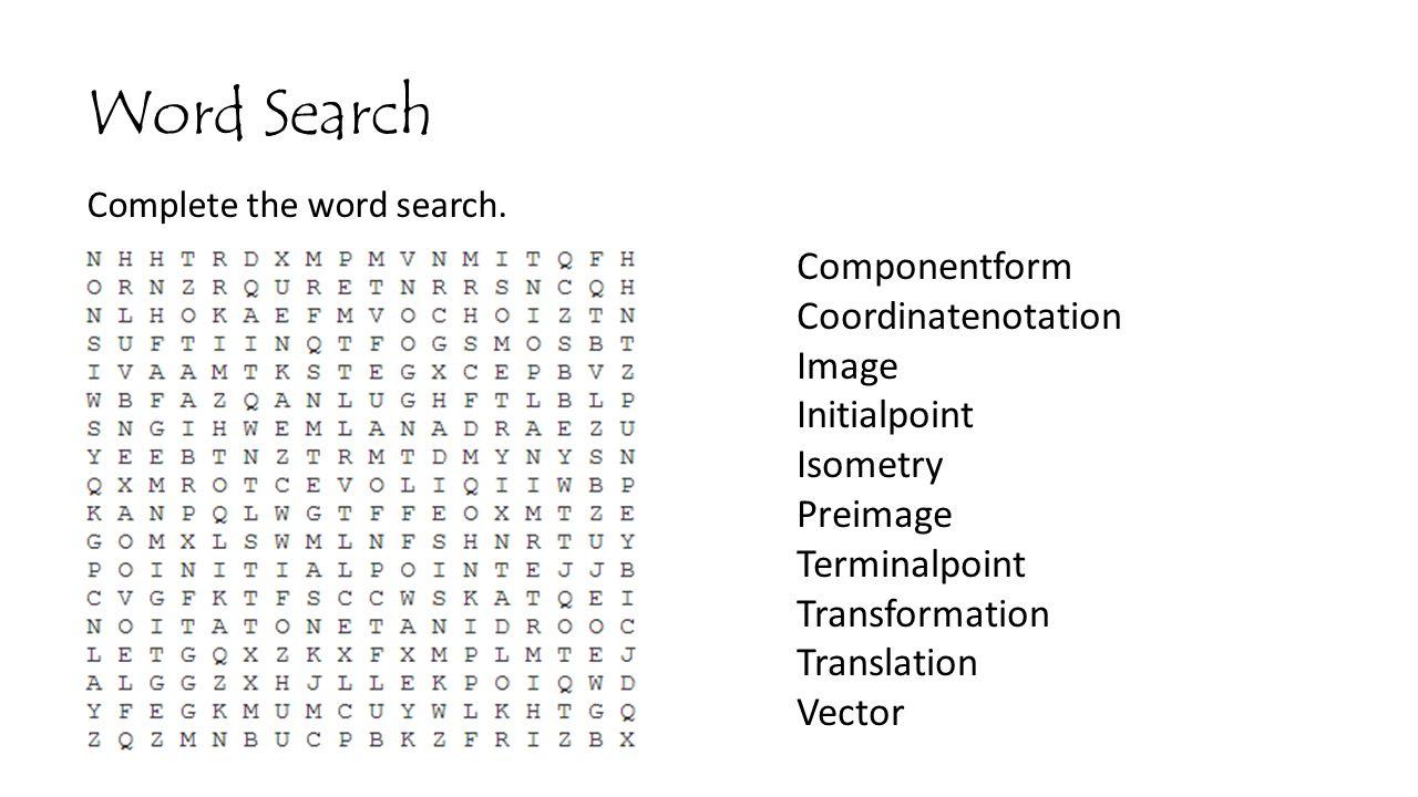 Word Search Componentform Coordinatenotation Image Initialpoint