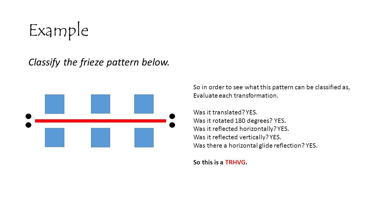 Example Classify the frieze pattern below.