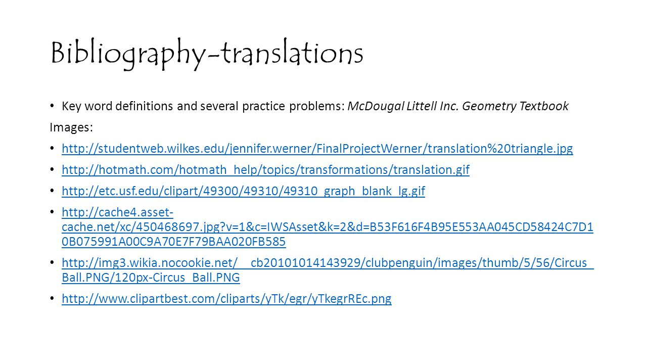 Bibliography-translations