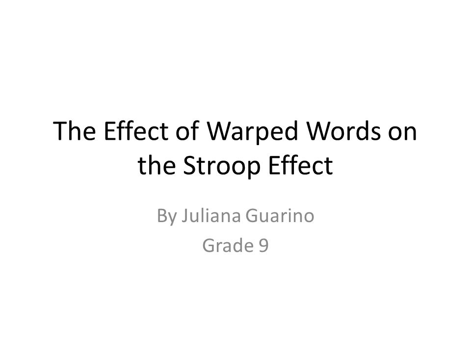 introduction to stroop effect Introduction to understand the the stroop effect's sensitivity to changes in brain function may be related to its association with the anterior cingulate.