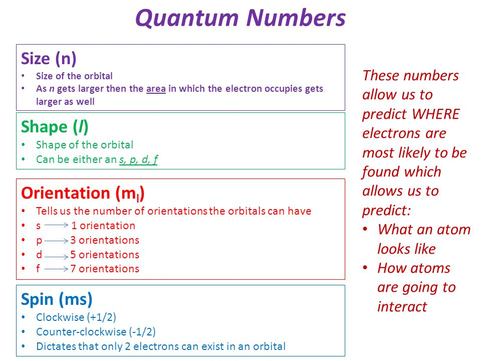 Quantum Numbers Size (n) Shape (l) Orientation (ml) Spin (ms)