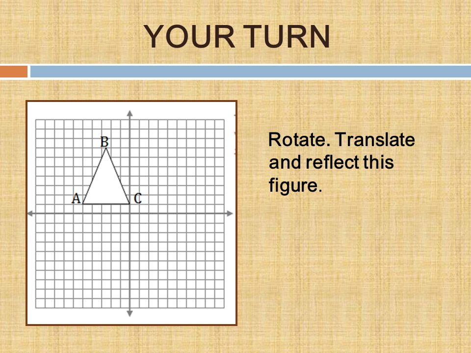YOUR TURN Rotate. Translate and reflect this figure.