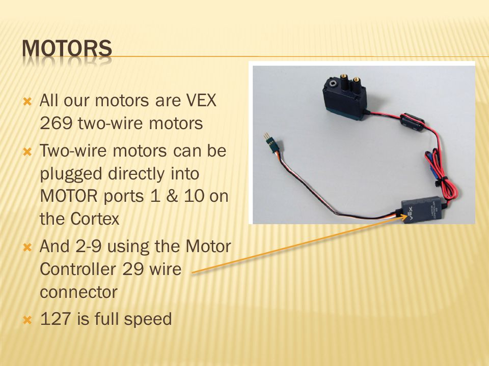Motors All our motors are VEX 269 two-wire motors