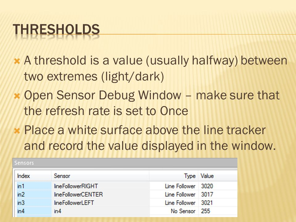 Thresholds A threshold is a value (usually halfway) between two extremes (light/dark)