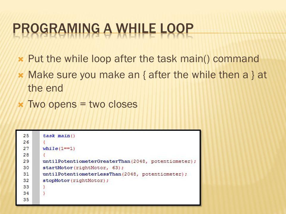 programing a While loop