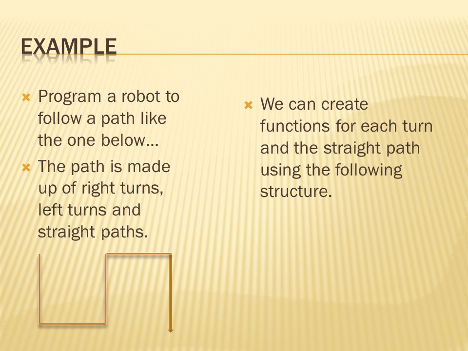 Example Program a robot to follow a path like the one below…