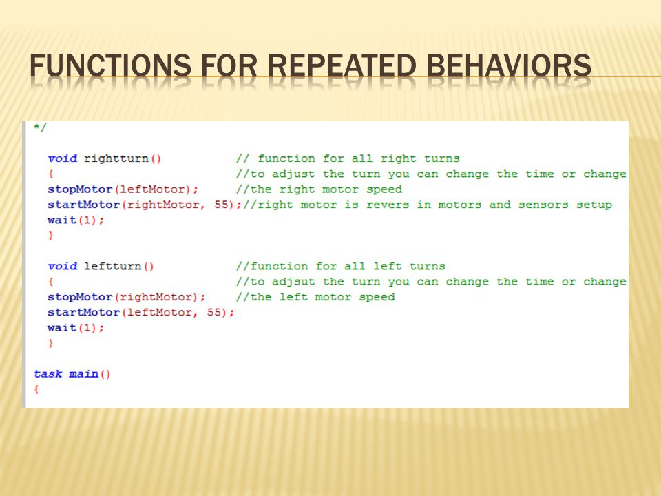 Functions for Repeated Behaviors