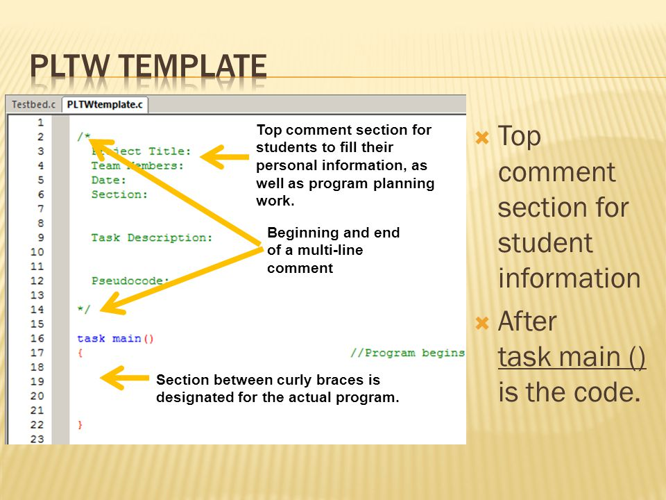 PLTW template Top comment section for student information