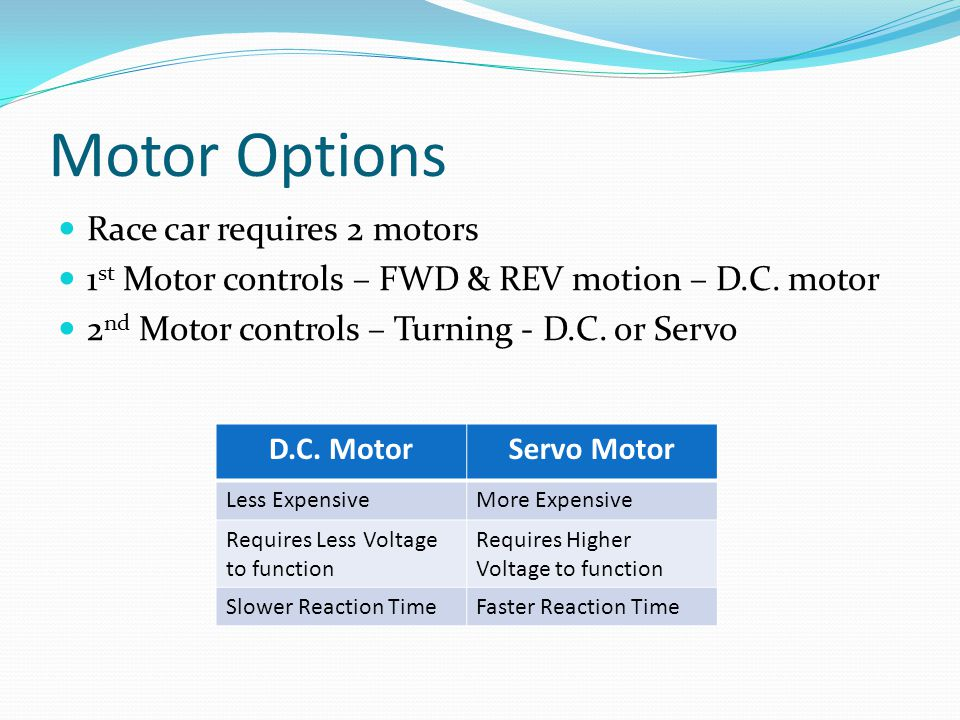 Motor Options Race car requires 2 motors