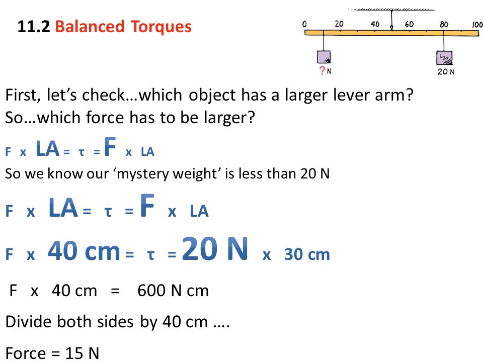 First, let's check…which object has a larger lever arm
