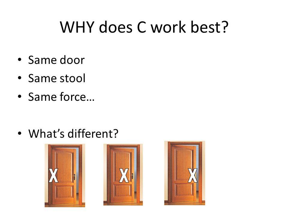 WHY does C work best Same door Same stool Same force…