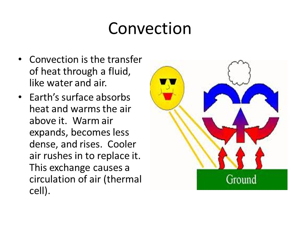 Convection Convection is the transfer of heat through a fluid, like water and air.