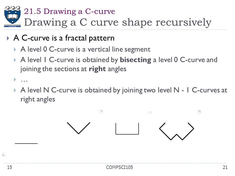 21.5 Drawing a C-curve Drawing a C curve shape recursively