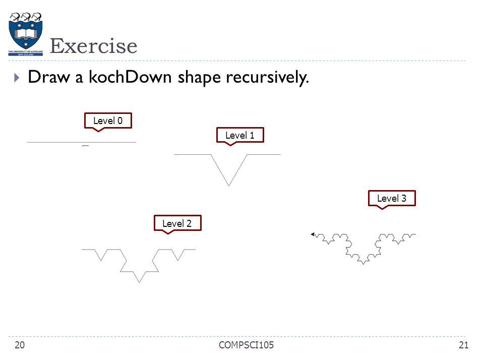 Exercise Draw a kochDown shape recursively. Level 0 Level 1 Level 3