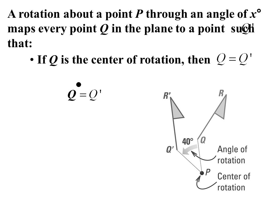 A rotation about a point P through an angle of x° maps every point Q in the plane to a point such that: