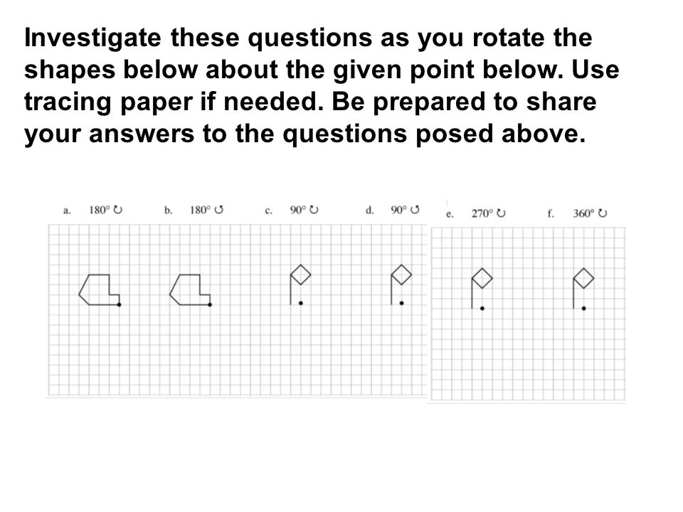 Investigate these questions as you rotate the shapes below about the given point below.