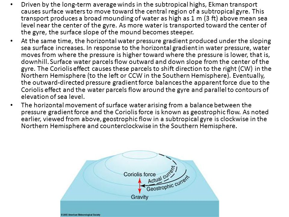 Driven by the long-term average winds in the subtropical highs, Ekman transport causes surface waters to move toward the central region of a subtropical gyre. This transport produces a broad mounding of water as high as 1 m (3 ft) above mean sea level near the center of the gyre. As more water is transported toward the center of the gyre, the surface slope of the mound becomes steeper.