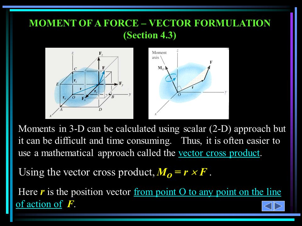 MOMENT OF A FORCE – VECTOR FORMULATION (Section 4.3)