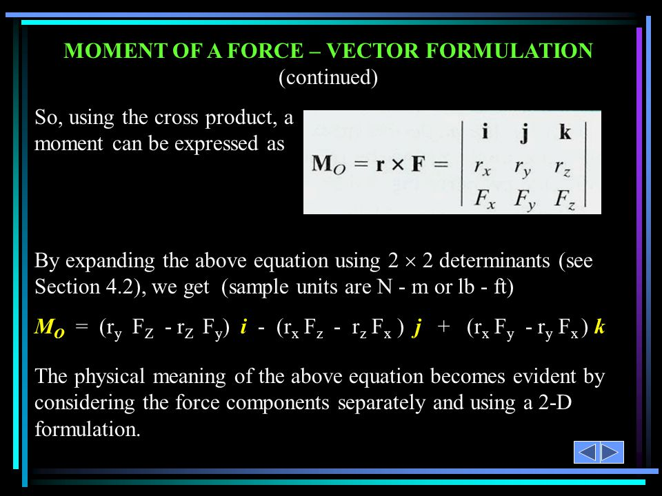MOMENT OF A FORCE – VECTOR FORMULATION (continued)