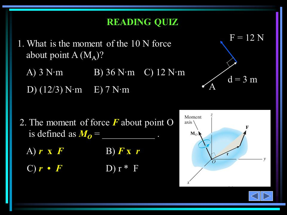 1. What is the moment of the 10 N force about point A (MA)