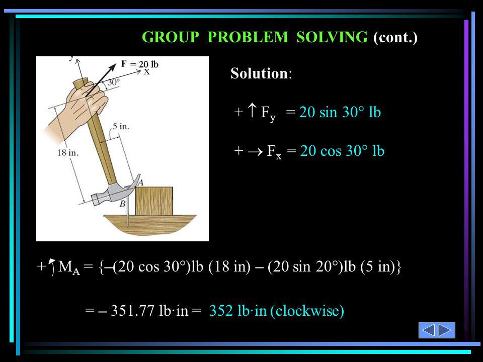 GROUP PROBLEM SOLVING (cont.)