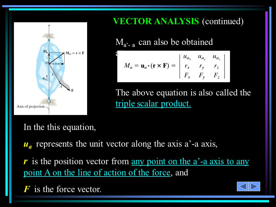 VECTOR ANALYSIS (continued)