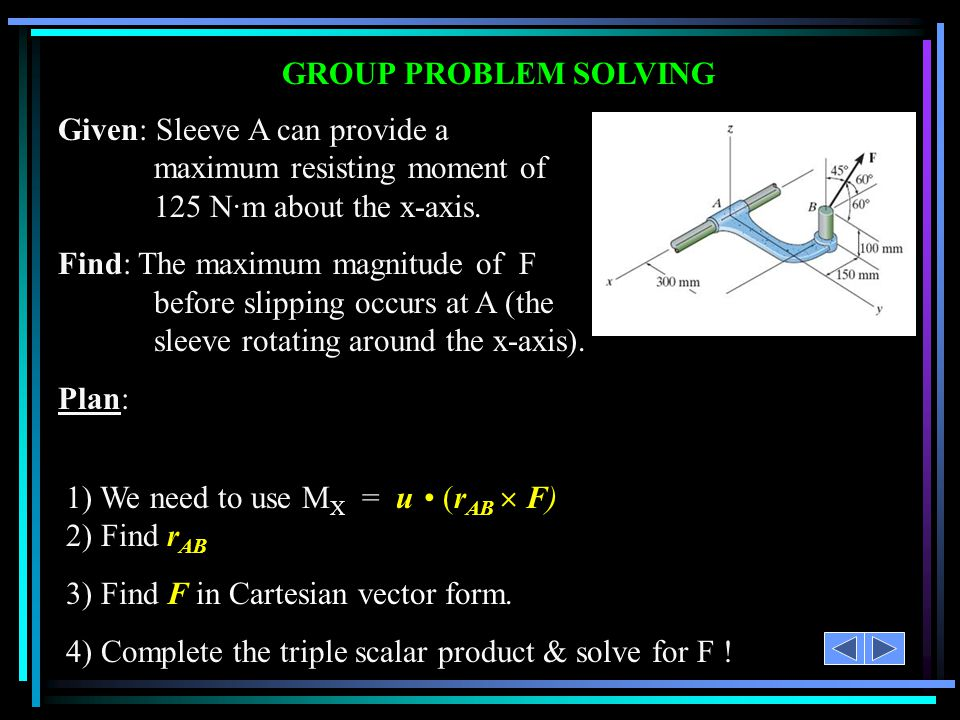 GROUP PROBLEM SOLVING Given: Sleeve A can provide a maximum resisting moment of 125 N·m about the x-axis.