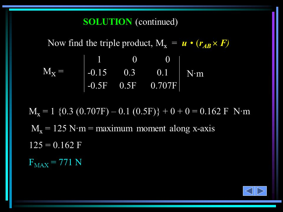 SOLUTION (continued) Now find the triple product, Mx = u • (rAB  F) MX = 1 0 0.