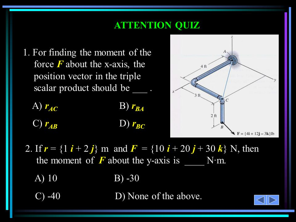 ATTENTION QUIZ 1. For finding the moment of the force F about the x-axis, the position vector in the triple scalar product should be ___ .
