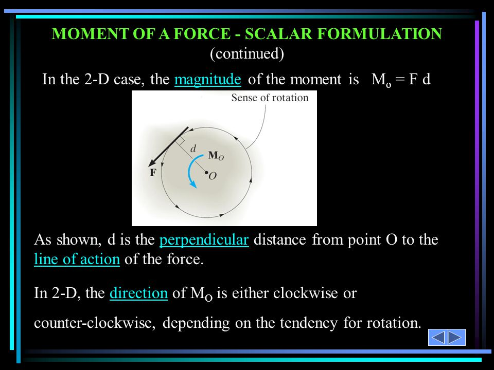 MOMENT OF A FORCE - SCALAR FORMULATION (continued)