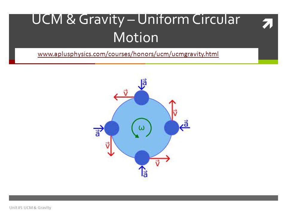 UCM & Gravity – Uniform Circular Motion