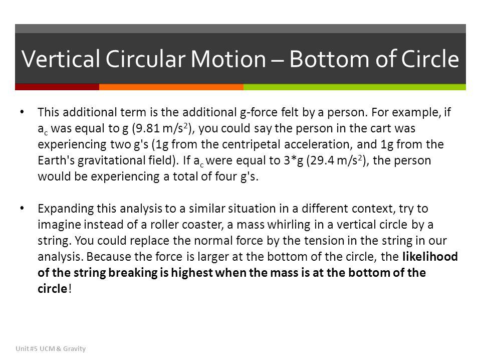 Vertical Circular Motion – Bottom of Circle