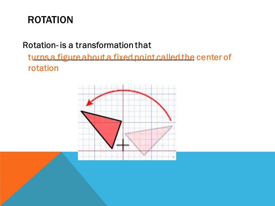 Rotation Rotation- is a transformation that ___________________________________.