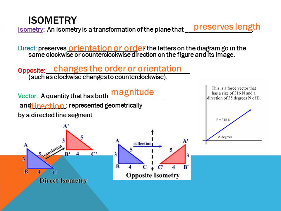 Isometry preserves length orientation or order