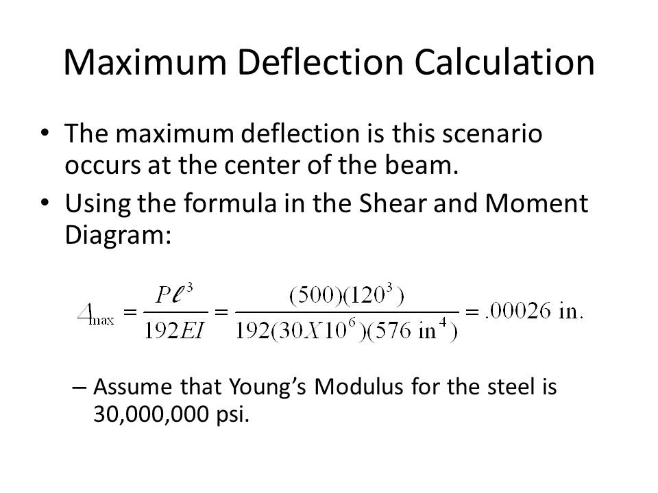 Maximum Deflection Calculation