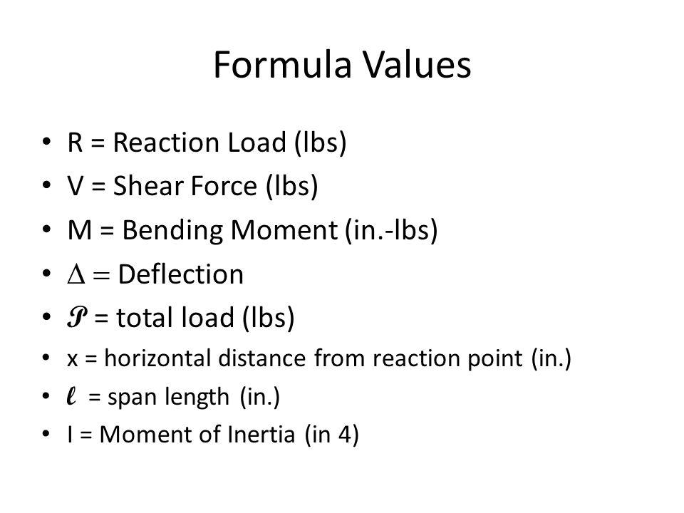 Formula Values R = Reaction Load (lbs) V = Shear Force (lbs)