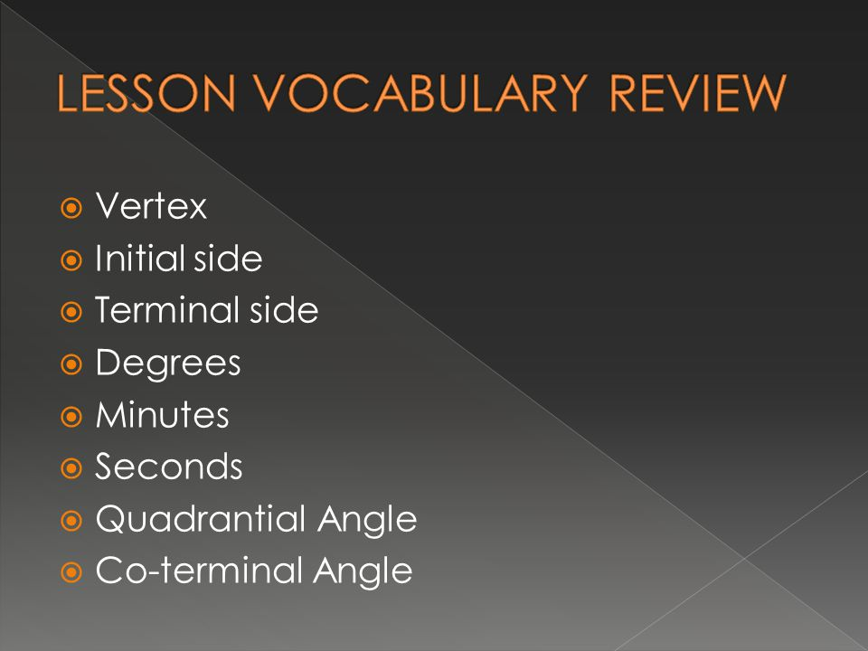 LESSON VOCABULARY REVIEW